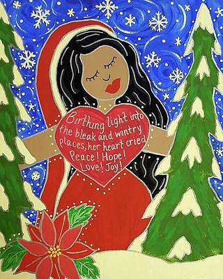 Winter Solstice Wall Art - Painting - Our Lady Of Light by Angela Yarber