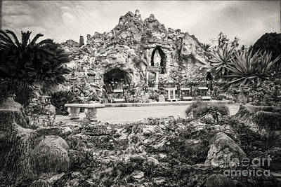 Photograph - Our Lady Of Lourdes Grotto In Sepia by Imagery by Charly