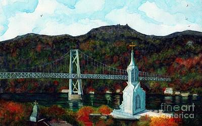 Painting - Our Lady Of Mt Carmel Church Steeple - Poughkeepsie Ny by Janine Riley