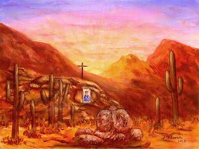 Art Print featuring the painting Our Lady Of The Desert by Judy Filarecki