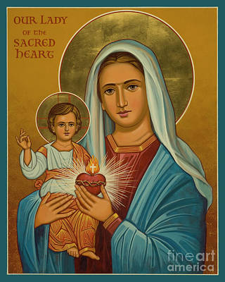 Painting - Our Lady Of The Sacred Heart - Jclsh by Joan Cole