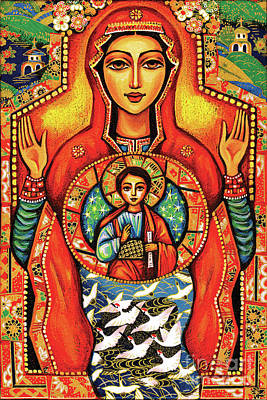 Blissful Painting - Our Lady Of The Sign by Eva Campbell