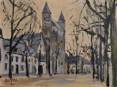 Square Painting - Our Lady Square On A Sunny Winter Morning by Nop Briex
