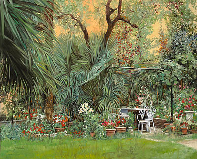 Wine Glass - Our Little Garden by Guido Borelli