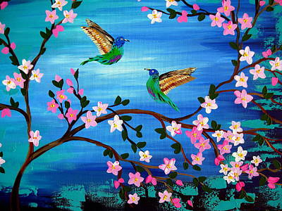 Hummingbird Painting - Our Lives Entwined by Cathy Jacobs