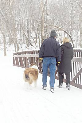 Dog Walking Photograph - Our Love Will Keep Us Warm by Larry Ricker