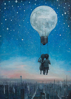 Hot Air Balloons Wall Art - Painting - Our Love Will Light The Night by Adrian Borda