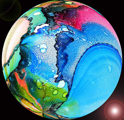 Abstract Seascape Mixed Media - our own planet - V P Planet by Sir Josef - Social Critic -  Maha Art