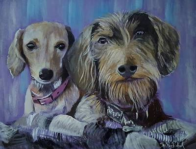 Painting - Our Pups by Jan VonBokel
