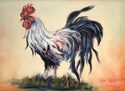 Our Rooster Family Art Print