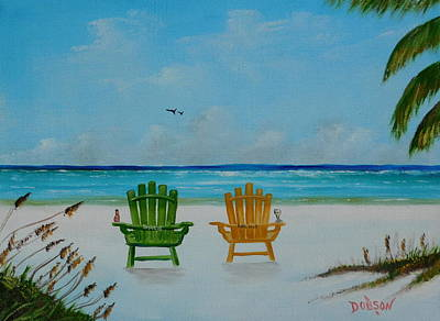 Painting - Our Two Chairs On Siesta Key Beach by Lloyd Dobson
