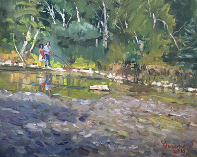Fishing Painting - Out Fishing With Viola  by Ylli Haruni