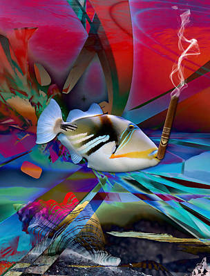 Colorful Fish Mixed Media - Out For A Break by Marvin Blaine