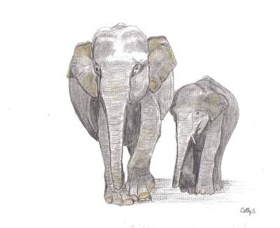 Elephants Painting - Out For  A Stroll by Catherine Swerediuk