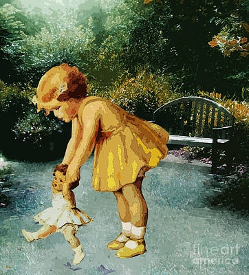 Little Girl Mixed Media - Out For A Stroll In The Garden by Tammera Malicki-Wong