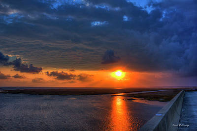 Out From Under The Storm Jekyll Island Sunset Art Print by Reid Callaway