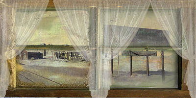 Window Signs Digital Art - Out My Window- Desert Town by Jeff Burgess