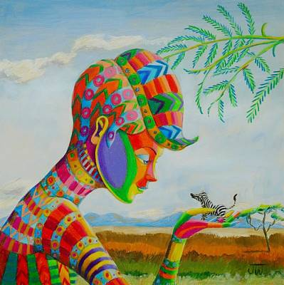 Painting - Out Of Africa Lilliputian Zebra by June Walker