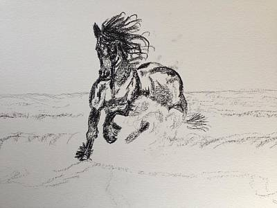 Horse Lovers Drawing - Out Of Darkness Comes Strength by Christine Mertin