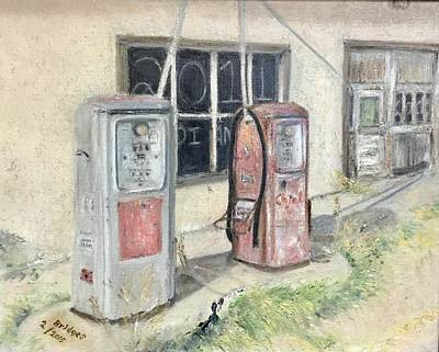 Gas Pumps 1950s Painting - Out Of Gas by Jerry Bridges