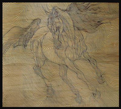 Pyrography - Out Of Line Horse by Dino Muradian