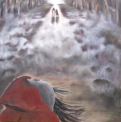 Art Print featuring the painting Out Of The Dark And Into The Light by Diane Daigle