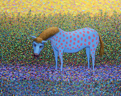 Stallion Painting - Out Of The Pasture by James W Johnson