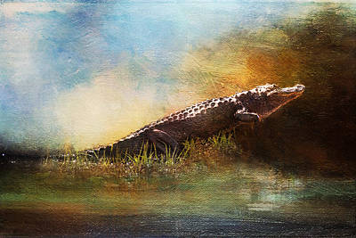 Painting - Out Of The Swamp Alligator Okefenokee by Christina VanGinkel