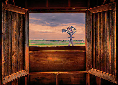 Little House On The Prairie Photograph - Out The Barn Window by Susan Rissi Tregoning