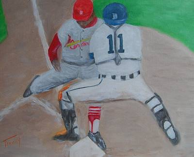 Detroit Tigers Painting - Out by Timothy Johnson