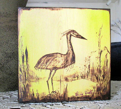 Pyrography - Out To Dinner Blue Heron Pyrography by Penny Hunt