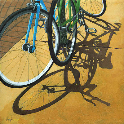 Bicycling Painting - Out To Lunch by Linda Apple