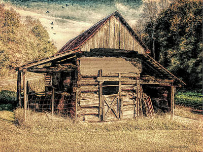 Old Barns Mixed Media - Out To Pasture 1 by Bellesouth Studio