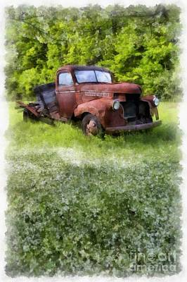 Vintage Truck Photograph - Out To Pasture by Edward Fielding
