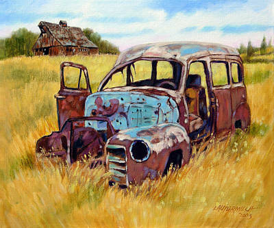 Old Barns Painting - Out To Pasture by John Lautermilch