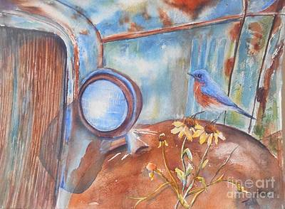 Rusted Cars Painting - Out To Pasture by Patricia Pushaw