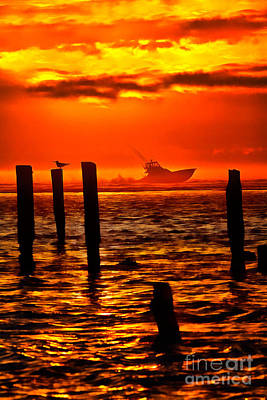 Painting - Out To Sea At Sunrise - Outer Banks  Ap by Dan Carmichael