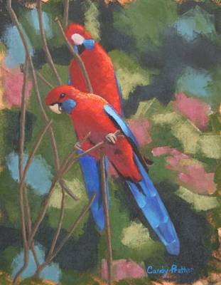 Painting - Outback Crimson Rosellas by Candy Prather