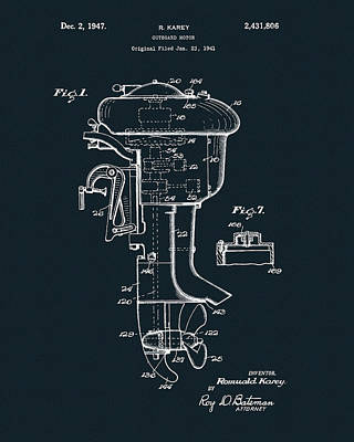 Drawing - Outboard Motor Patent by Dan Sproul
