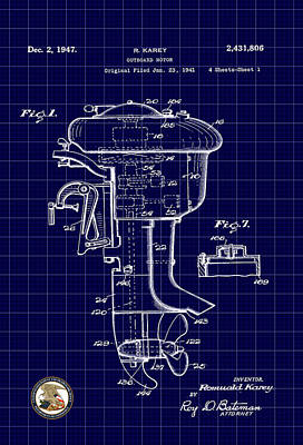Digital Art - Outboard Motor Patent Drawing by Carlos Diaz