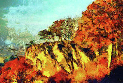Digital Art - Outcrop Of Trees by Mario Carini