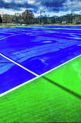 Athletes Royalty-Free and Rights-Managed Images - Outdoor Basketball Court 1 in Blue and Green by YoPedro