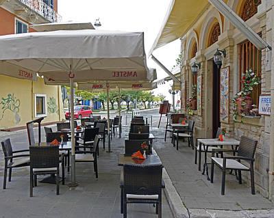 Studio Grafika Zodiac - Outdoor Cafe In Corfu greece by Rick Rosenshein