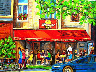 Jewish Montreal Painting - Outdoor Cafe On St. Denis In Montreal by Carole Spandau