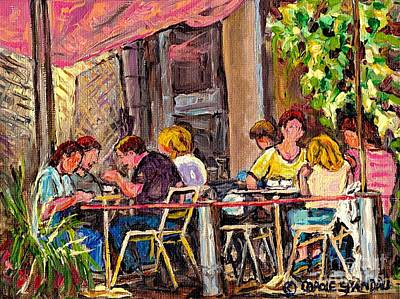 Cafes Painting - Outdoor Cafe Paintings Paris Style Sidewalk Terrace Rue St Denis Original Bistro Art Carole Spandau  by Carole Spandau