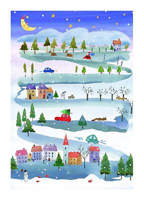 Outdoor Christmas Events Linked Art Print
