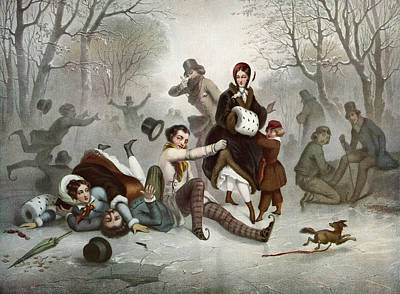 Winter Fun Drawing - Outdoor Ice Skating In The 19th by Vintage Design Pics