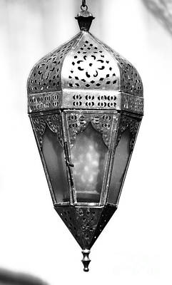 Photograph - Outdoor Patina Copper Red Hanging Antiqued Indian Lantern Lamp Black And White Diffuse Glow Digital by Shawn O'Brien