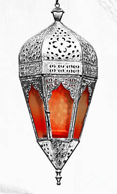 Photograph - Outdoor Patina Copper Red Hanging Antiqued Indian Lantern Lamp Color Splash Colored Pencil Digital by Shawn O'Brien