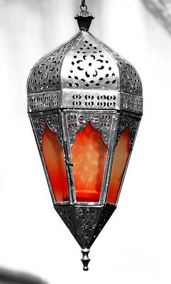 Photograph - Outdoor Patina Copper Red Hanging Antiqued Indian Lantern Lamp Color Splash Diffuse Glow Digital Art by Shawn O'Brien